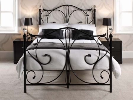 Firenze Black Metal Bed Frame with Crystal Knobs