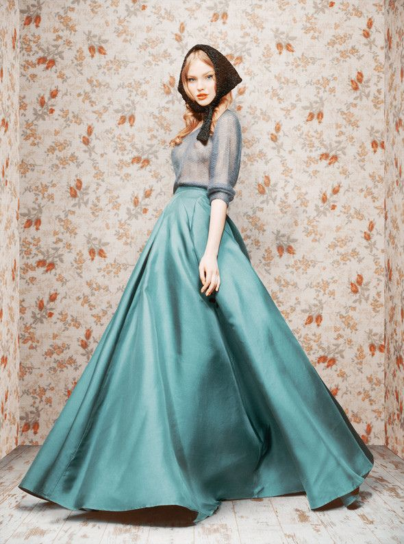 Ulyana Sergeenko's collection, somewhere between a ball gown and little red riding hood