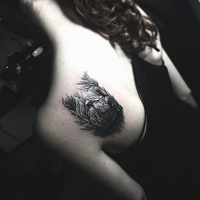 wolf tattoo, tatuaggio lupo, illusion tattoo, illusione ottica, tattoed, girl with tattoos, tatuaje, art, arte, idea, sleeve, tree, tree wolf, turin , tattoo by edwin basha