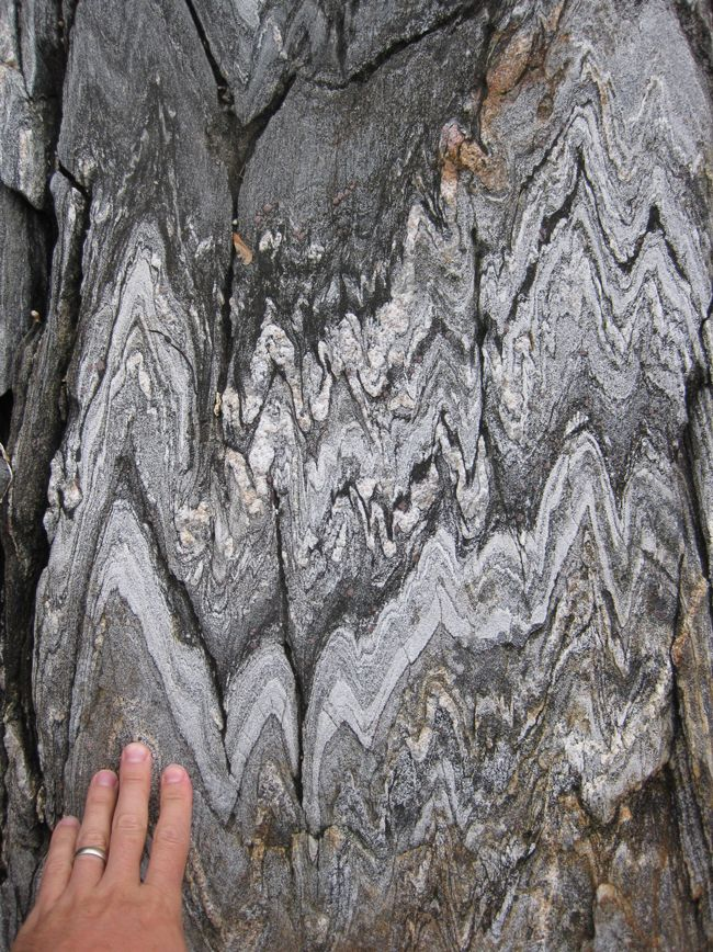 Devonian metamorphic rocks (garnet-bearing gneiss) exposed on the western side of Cabbage Island, Maine