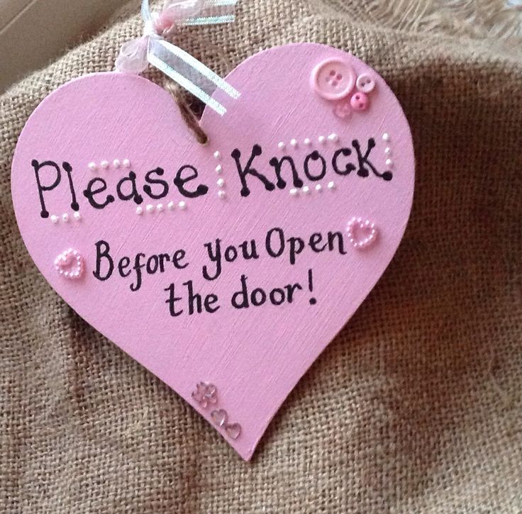Please Knock Before You Open The Door Pink Heart Girls