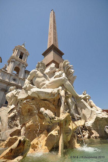 """Bernini's """"Fontana dei Quattro Fiumi"""" in the Piazza Navona."""