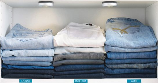 Jeans Organized On Shelf by color or by style