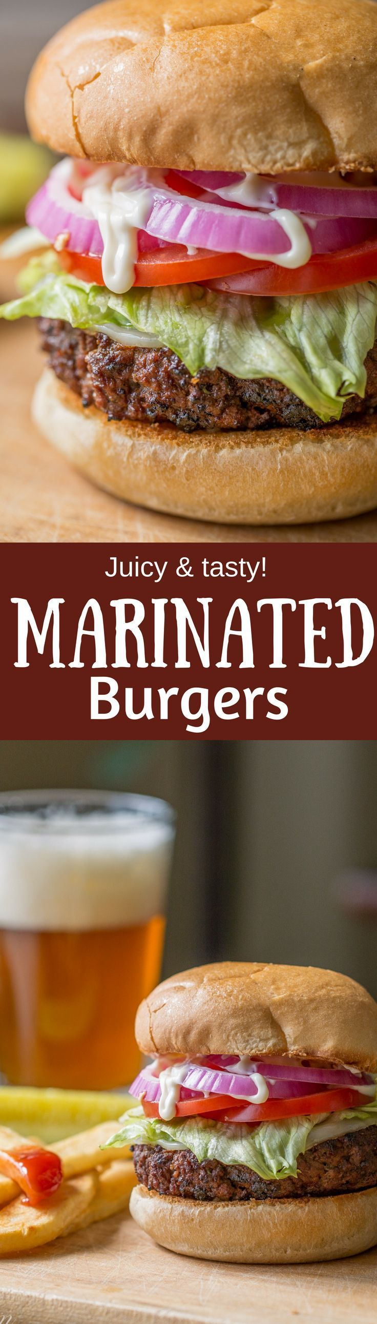 Marinated Burgers - a deliciously juicy home grilled burger that tastes like steak!  www.savingdessert.com