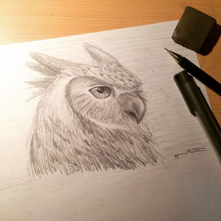 Búho a lápiz.