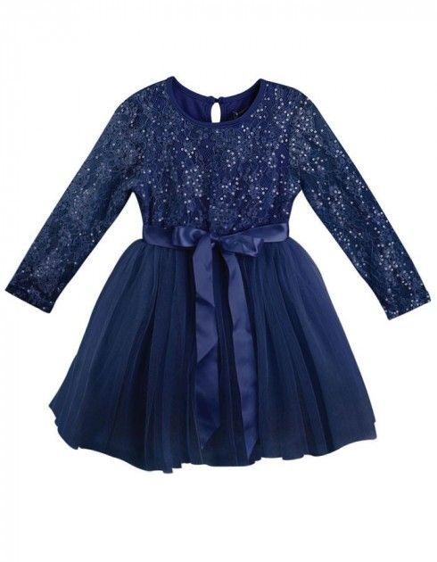 Blå kjole til barn med blondetopp og paljetter  | DressMyKid.no - Barn og baby - Alltid gode tilbud