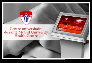 McGill University Health Centre (MUHC)  Emergency Room Kiosks  We worked with the MUHC to create and design two interactive kiosks that provide emergency room patients with information and maps for nearby clinics and pharmacies for follow-up care.