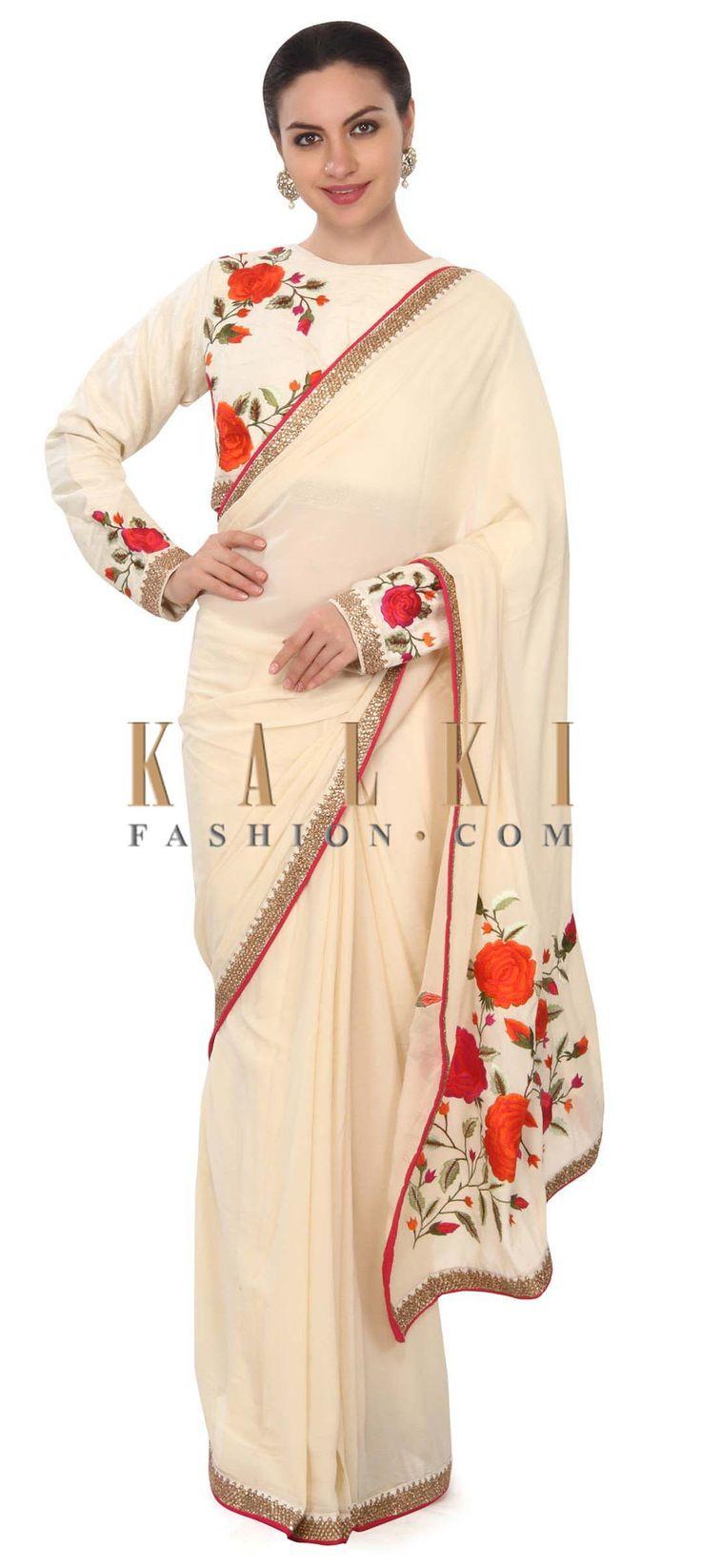 Buy this Cream saree enhanced in resham in floral motif only on Kalki