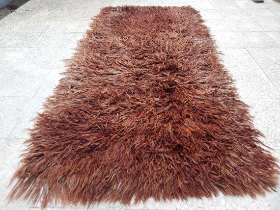 3'3'' X 6'11'' / 100 X 210 cm Angora Wool Shades of Brown Shaggy Rug,Long Pile Tulu Carpet, Moroccan Style Flokati Rug,Shag Tulu Knotted Rug