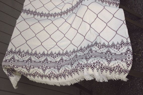 Swedish Afghan Embroidery Monks Cloth Lap Throw by susanliles, $82.00
