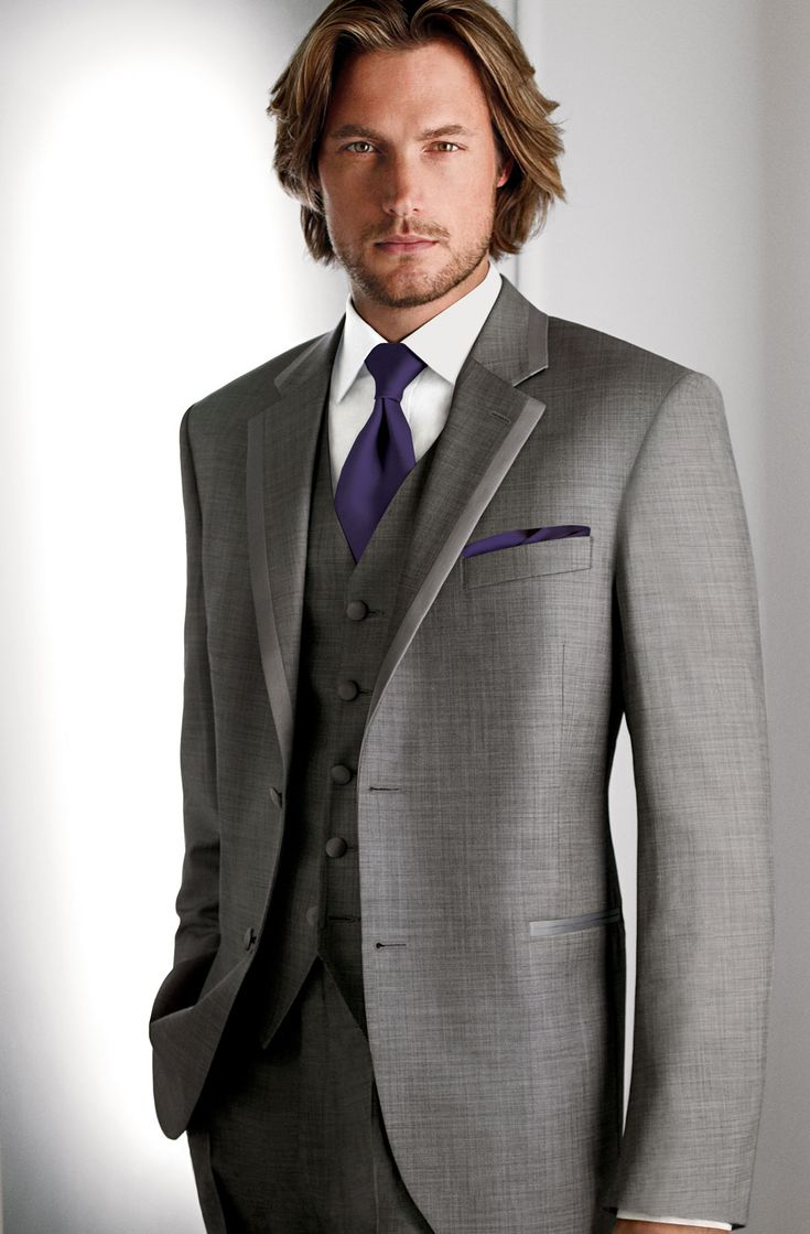 groomsmen (freeman) gray suit, purple tie and pocket square. gray vest        Calvin Klein 1212