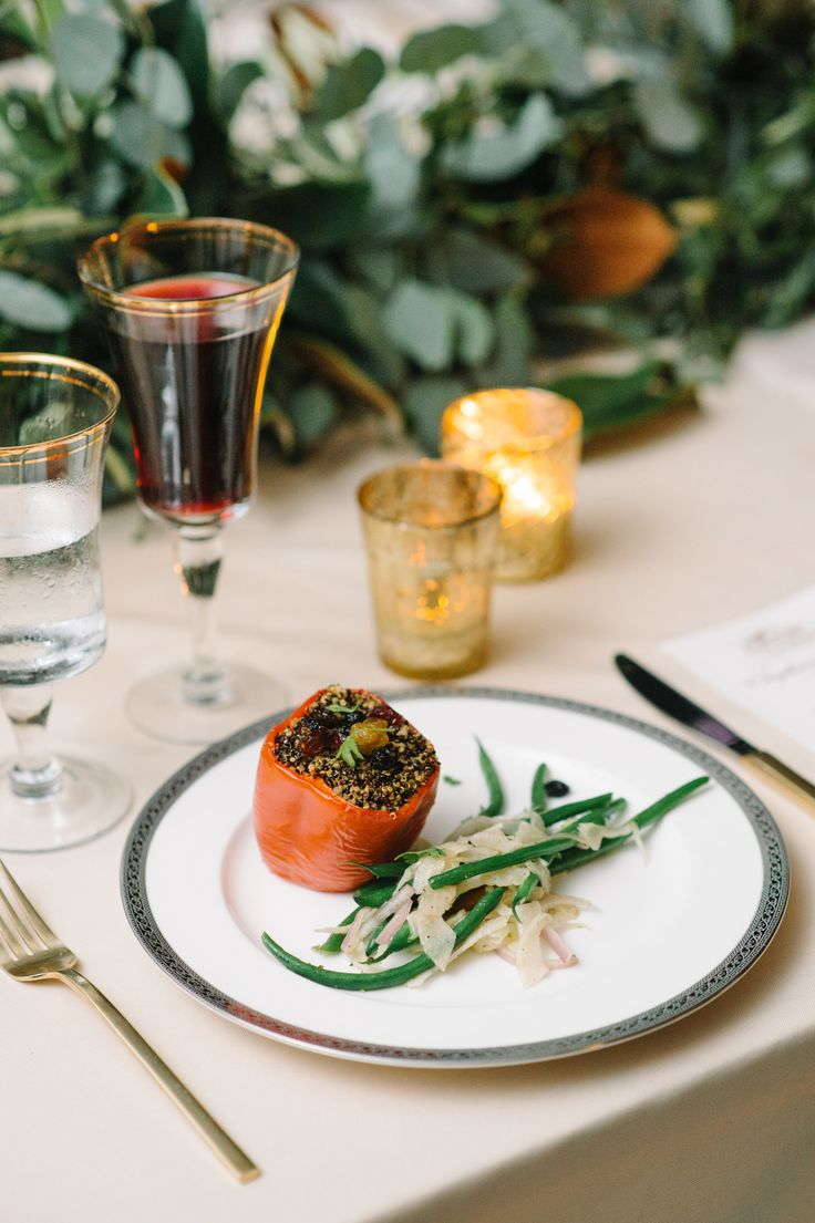 A gourmet wedding menu with personal touches from PPHG | Quinoa Stuffed Red Pepper with Haricot Vert | Cuisine by PPHG | Lowndes Grove Plantation | Charleston, South Carolina | Photo by Aaron and Jillian