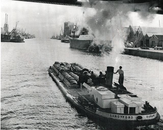 Photograph of Guinness Barges, 1950s - Day Collection, held at Dublin City Library & Archive