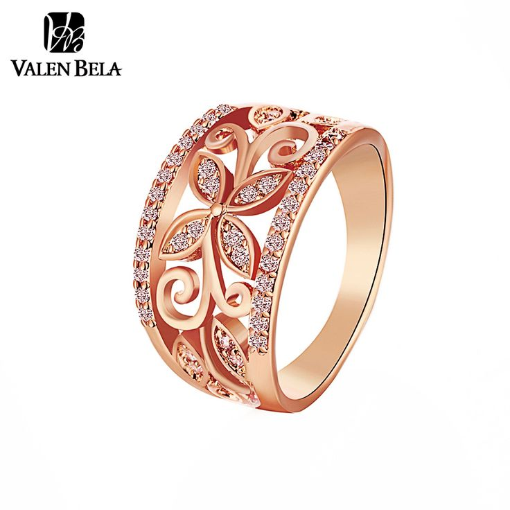 Rings  VALEN BELA Rose Gold Flower Cubic Zirconia Rings Women Size 6,7,8,9 Female Gold Plated Wedding Ring Jewelry Wholesale JZ5167 ** This is an AliExpress affiliate pin.  View the item in details on AliExpress website by clicking the image