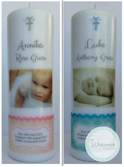 Diamond Photo Personalised Candles by Wickitywick Candles #Baptism Candle #Christening Candle #Naming Day Candle www.wickitywickcandles.com.au