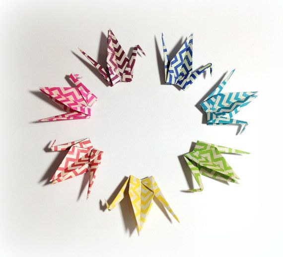 I do custom mobiles on Etsy - - Origami Cranes Bold Chevron Pattern Mobiles by FlyingCraneOrigami
