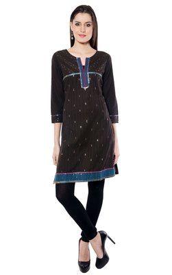 Black plain  Cotton(Khadi) kurtas-and-kurtis