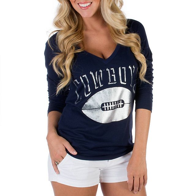 Dallas Cowboys PINK 3/4 V-Neck Tee | PINK | Womens | Cowboys Catalog | ShopCowboys