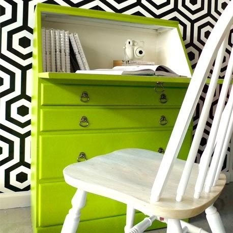 Miss Cupcake Secretary Desk by Heima (www.heimastore.com) in Lime.  - love the color and the wallpaper