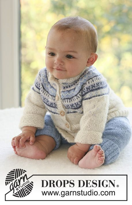 Himmelblå / DROPS Baby 16-10 - Set of knitted cardigan with round yoke and Nordic pattern plus pants, for baby and children in DROPS Alpaca