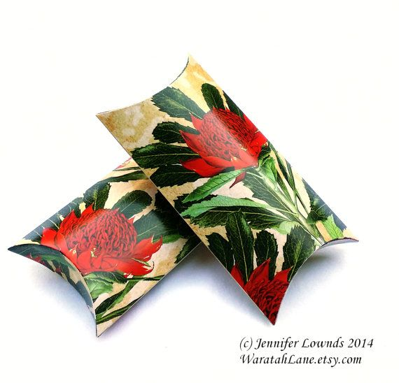 Printable Pillow Box INSTANT DOWNLOAD printable by WaratahLane Waratah flowers Australian Native red and green For small gift packaging, wedding favors bonbonniere favours diy