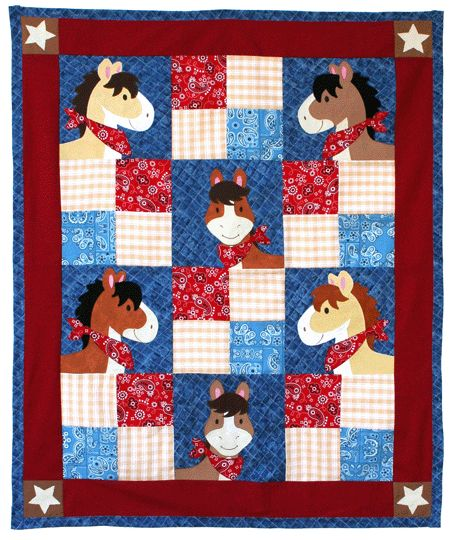 "Cute! ""Pony Tales"" quilt pattern from Willow Bay Designs.  Adorable!"