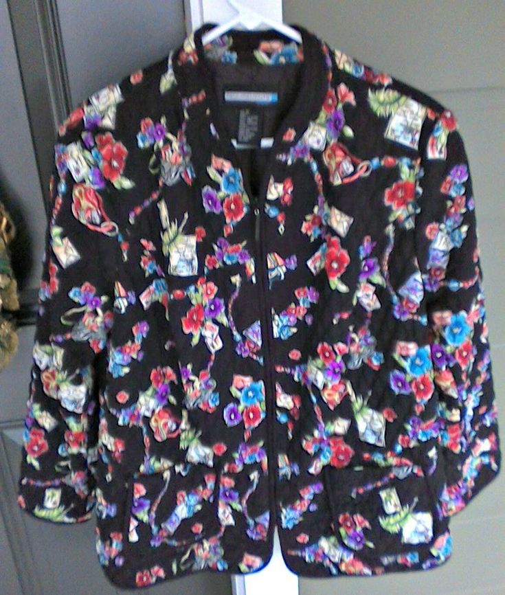 Plus Size Requirements jacket 1X quilted multicolored floral motif on black  #Requirements #BasicJacket