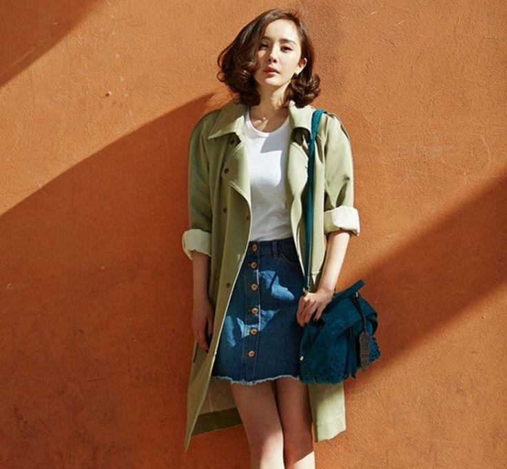1/2 Sleeves Turn-down Collar Slim Casual Long Coat