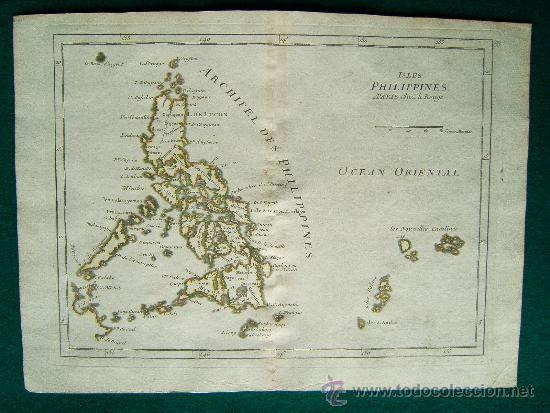 ISLES PHILIPPINES-ISLAS FILIPINAS-GEORGES LOUIS LE ROUGE-PALAOS,CAROLINAS-MAPA 24X33 CM-AÑO 1748-60. - Foto 1
