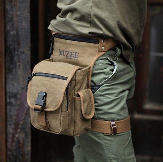 Vintage Canvas Mens Fanny Waist Leg Minitary Hiking Pack Messenger Shoulder Bag #Muzee #FannyWaistPack