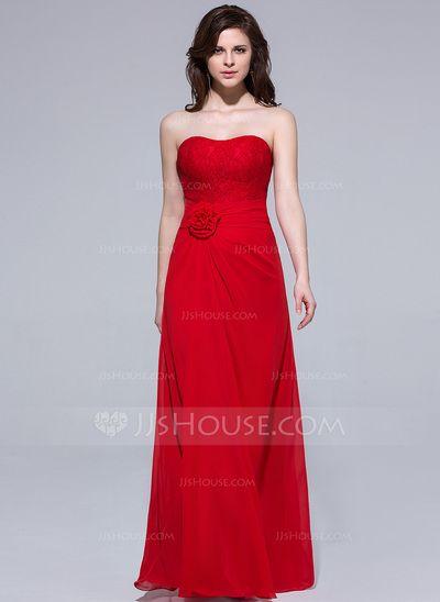 [€ 107.48] Vestido tubo Escote corazón Hasta el suelo Chifón Dama de honor con Volantes Flores (007037167)