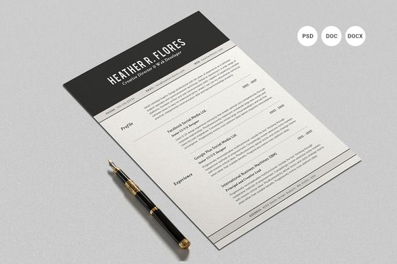 Check out Swiss Style Resume CV Set Template by SNIPESCIENTIST on - two page resume samples