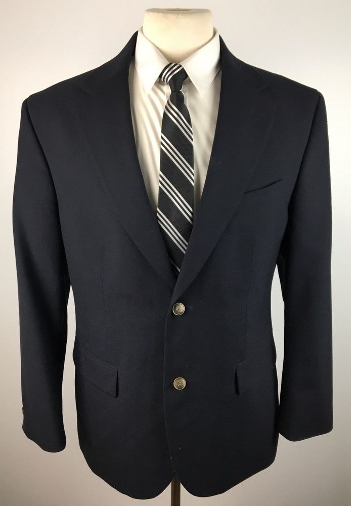 1230d1aeb38 Dockers Men's 40R Navy Blue Two Button Blazer Sports Coat Suit Jacket # DOCKERS #TwoButton