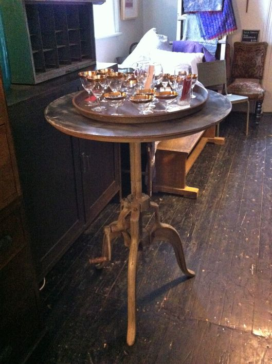 Adjustable height table. Kabinett Vintage, Kyneton.