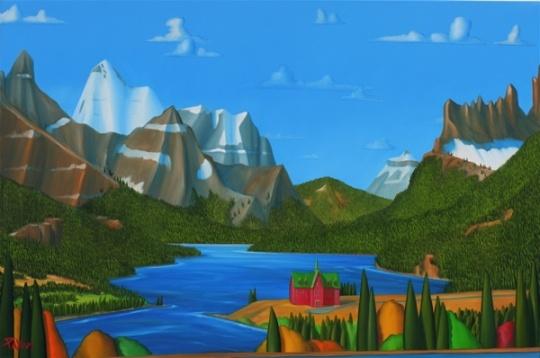 Glenn Payan's stretched & tilted landscapes