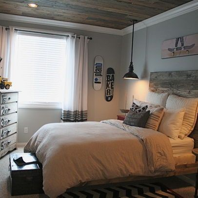 Love this look...the wood on the ceiling and the wall color.