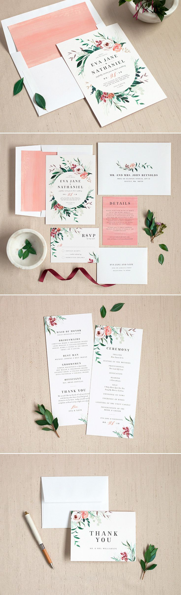 Wild Wreath wedding invitation suite with gorgeous florals and greenery. Available at elli.com.