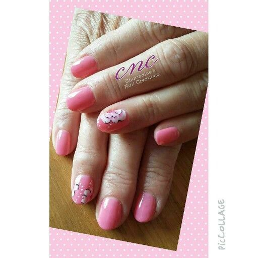 CND Shellac with freehand flowers
