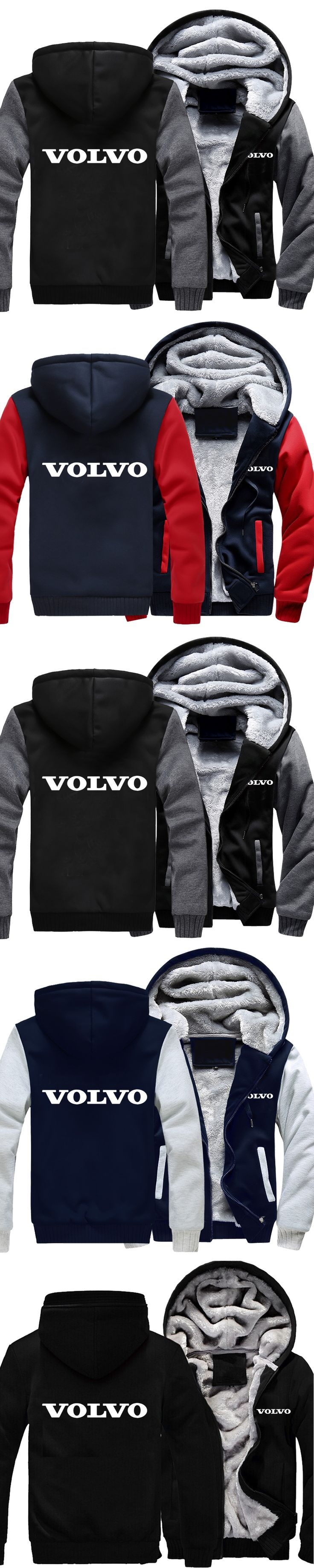 Men Women Volvo Car Logo Zipper Sweatshirts Velvet Wall Warm Thicken Coat Fleece Hooded Cardigan Hoodies Casual Cotton Jacket