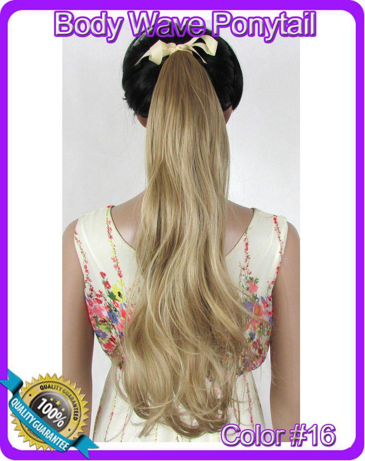 22  ( 55 см ) 90 г объемная волна лента хвост шиньон волосы частей клип в наращивание волос цвет # 16 эш-русый