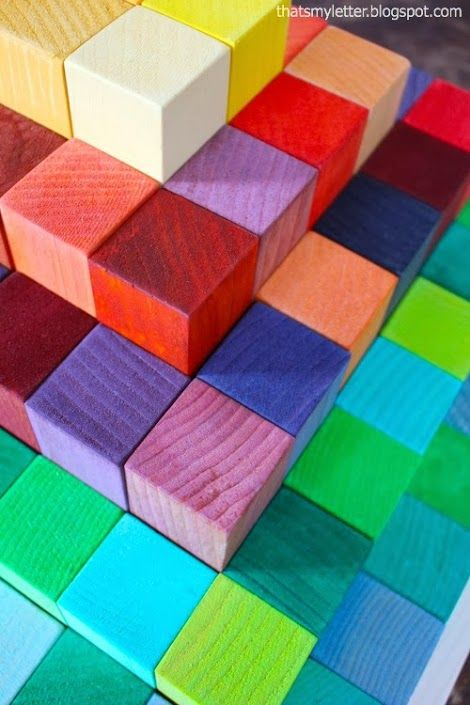DIY wood block pyramid - use food coloring to get different colors that are food safe!  From Ana-White.com