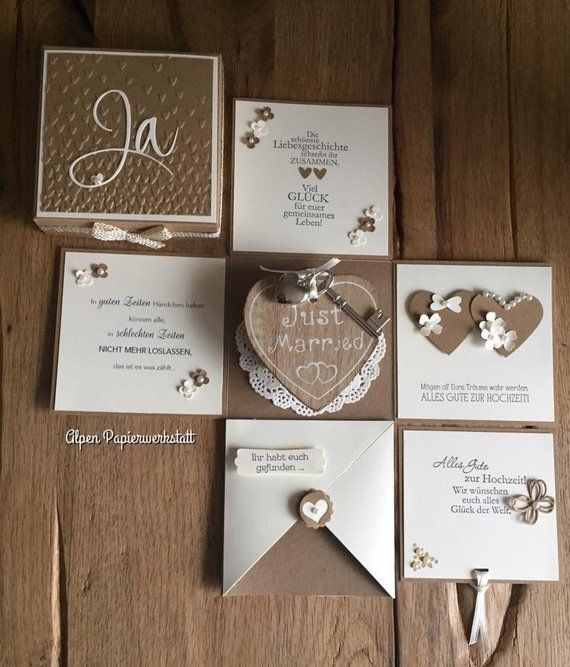 Money Gift/Explosion box/greeting card for wedding wood Heart