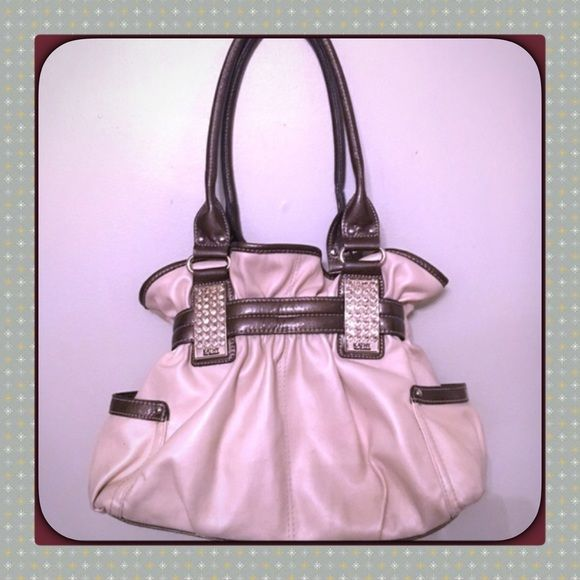 """Karhy Van Zeeland rhinestone belted bone satchel Very pretty- Goid used condition- not mint- has signs of wear here and there but it has not been abused, magnetic snap closure, pocket on each side- one zip pocket to enter slip pockets, backside zip pocket. The straps are long and oval, bag is approx.  14""""long by 10"""" in height by 5"""" depth w/ the straps at approximate 12"""" drop. Bone /Bronze Brown - hot! Estate fresh (read profile) clean interior.👀pics as all PM sales final. Pinch open & close…"""