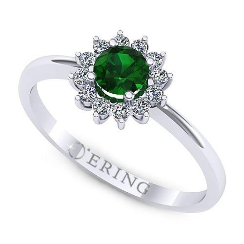Inel logodna L95ASM inel cu diamante si smarald