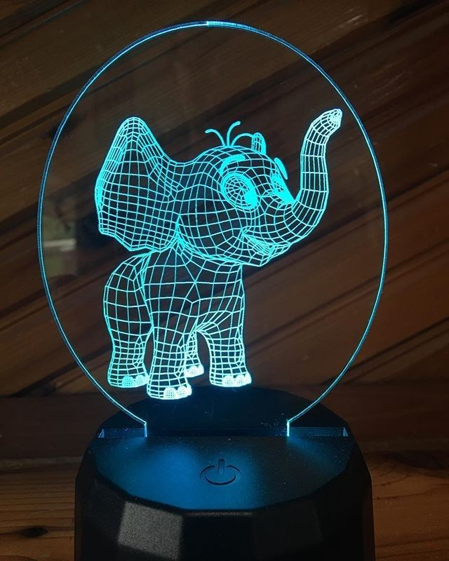 Sandyberish Posted To Instagram Cute 3d Elephant Led Lamp Get One For Your Love Or Friend Custom Lamps Also Available Co Elephant Lamp Led Color Led Lamp