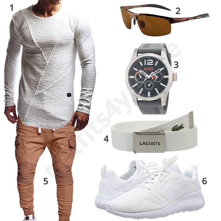Lässiges Herren-Outfit mit weißem Leif Nelson Longsleeve, Duco Sonnenbrille, Boss Orange Uhr, Lacoste Gürtel, MT Styles Hose und Nike Kaishi 2.0 Sneakern.
