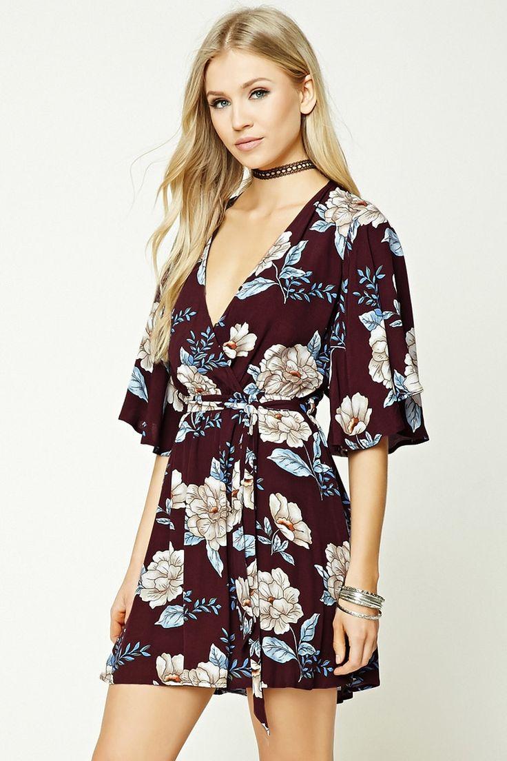Floral Print Surplice Dress