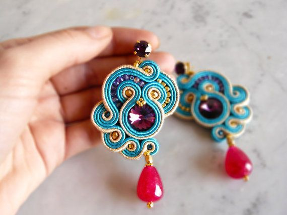 Soutache Earrings, Handmade Earrings, Hand Embroidered, Soutache Jewelry…