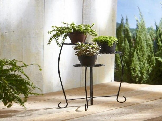 Good Facts about 3 Tier Plant Stands: Interesting 3 Tier Plant Stands With Black Painted Steel With Green Plant Pot ~ cultivor.com Garden Inspiration