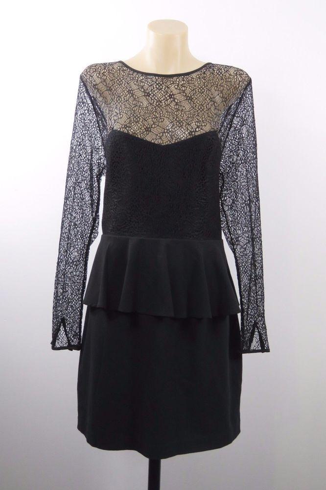 Size XL 16 Portmans Ladies Black Lace Dress Cocktail Wedding Evening Chic Design #Portmans #Peplum #LittleBlackDress